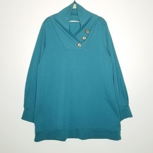 Soft Surroundings Winifred Pullover L Teal Blue